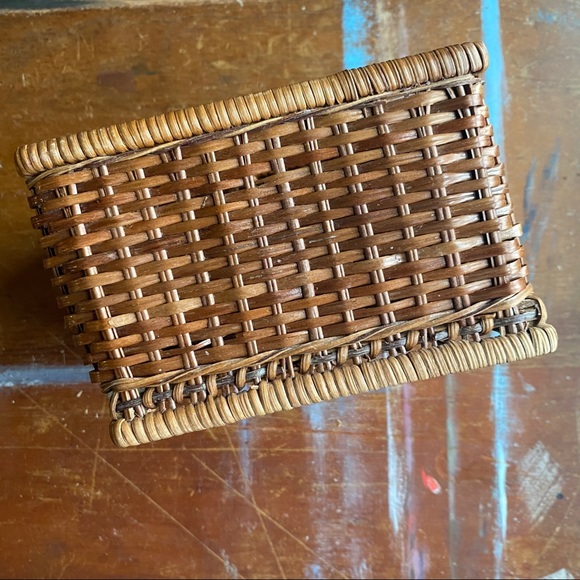 Vintage Wicker Woven Square Basket